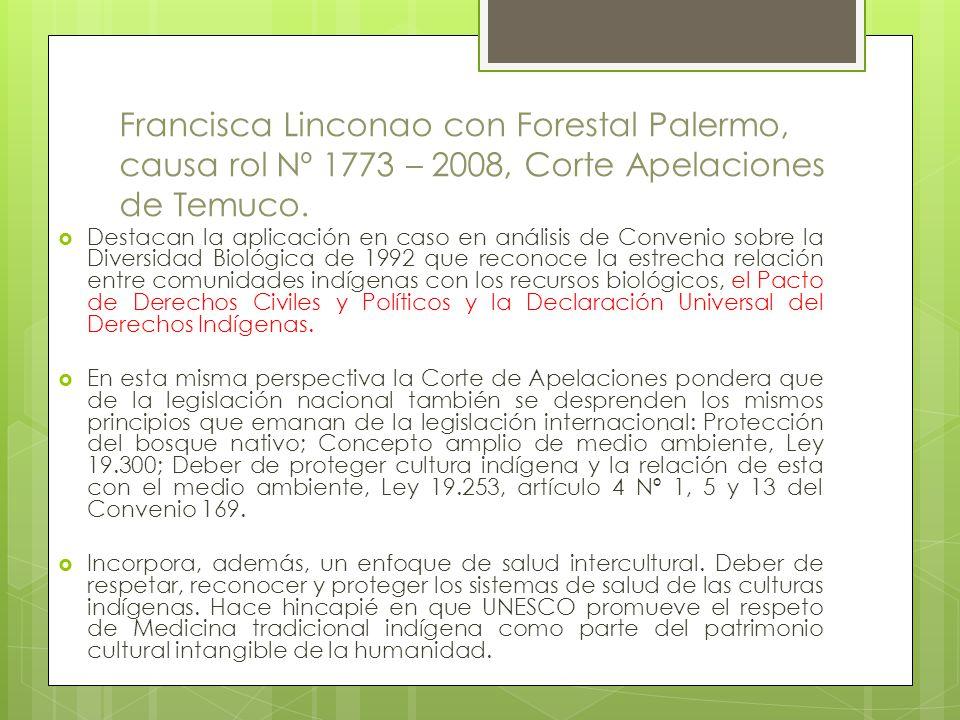 Francisca Linconao con Forestal Palermo, causa rol Nº 1773 – 2008, Corte Apelaciones de Temuco.
