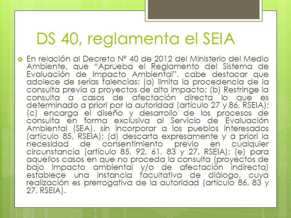 DS 40, reglamenta el SEIA  En relación al Decreto N° 40 de 2012 del Ministerio del Medio Ambiente, que Aprueba el Reglamento del Sistema de Evaluación de Impacto Ambiental .