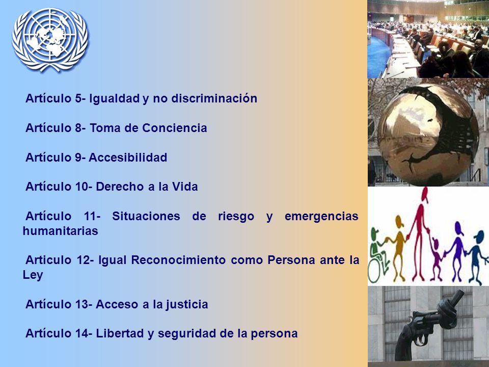 Artículo 5- Igualdad y no discriminación Artículo 8- Toma de Conciencia Artículo 9- Accesibilidad Artículo 10- Derecho a la Vida Artículo 11- Situaciones de riesgo y emergencias humanitarias Articulo 12- Igual Reconocimiento como Persona ante la Ley Artículo 13- Acceso a la justicia Artículo 14- Libertad y seguridad de la persona