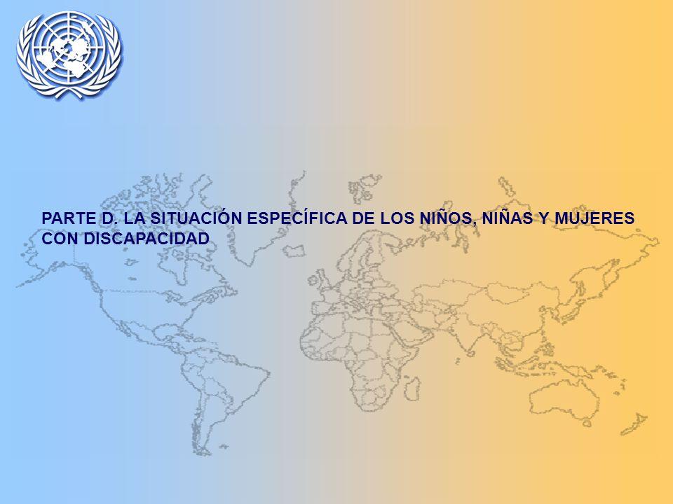 PARTE D. LA SITUACIÓN ESPECÍFICA DE LOS NIÑOS, NIÑAS Y MUJERES CON DISCAPACIDAD