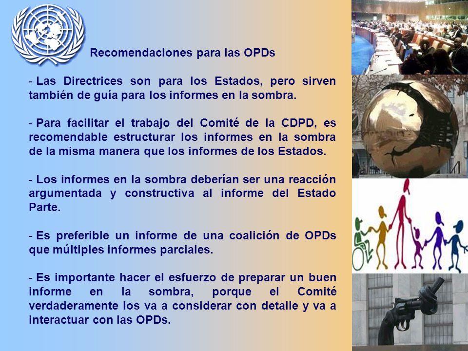Recomendaciones para las OPDs - Las Directrices son para los Estados, pero sirven también de guía para los informes en la sombra.
