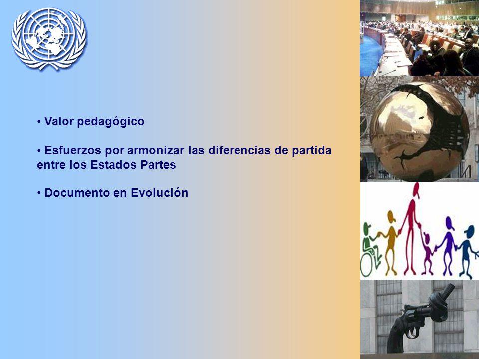 Valor pedagógico Esfuerzos por armonizar las diferencias de partida entre los Estados Partes Documento en Evolución