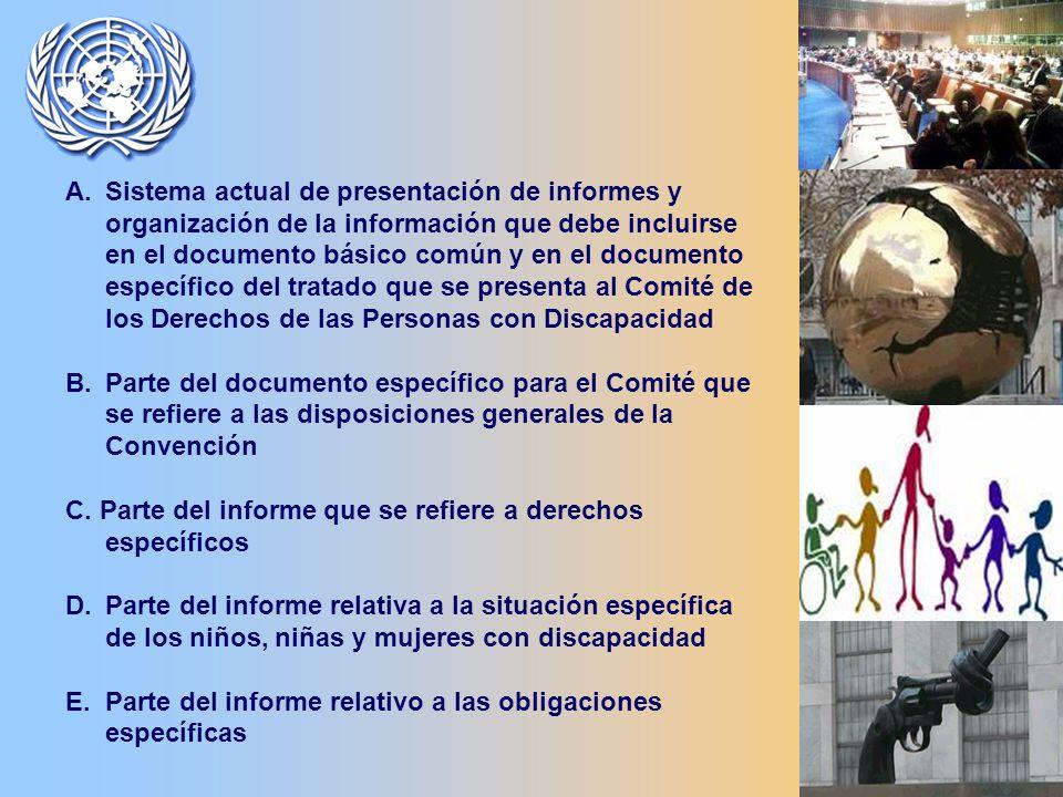 A.Sistema actual de presentación de informes y organización de la información que debe incluirse en el documento básico común y en el documento específico del tratado que se presenta al Comité de los Derechos de las Personas con Discapacidad B.Parte del documento específico para el Comité que se refiere a las disposiciones generales de la Convención C.