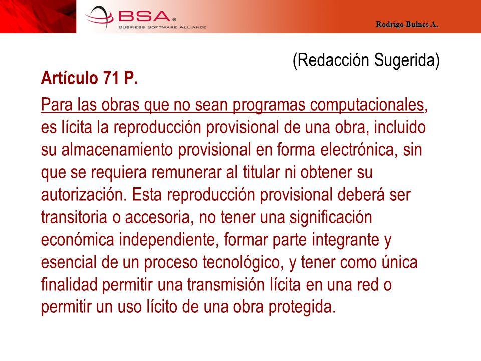 (Redacción Sugerida) Artículo 71 P.