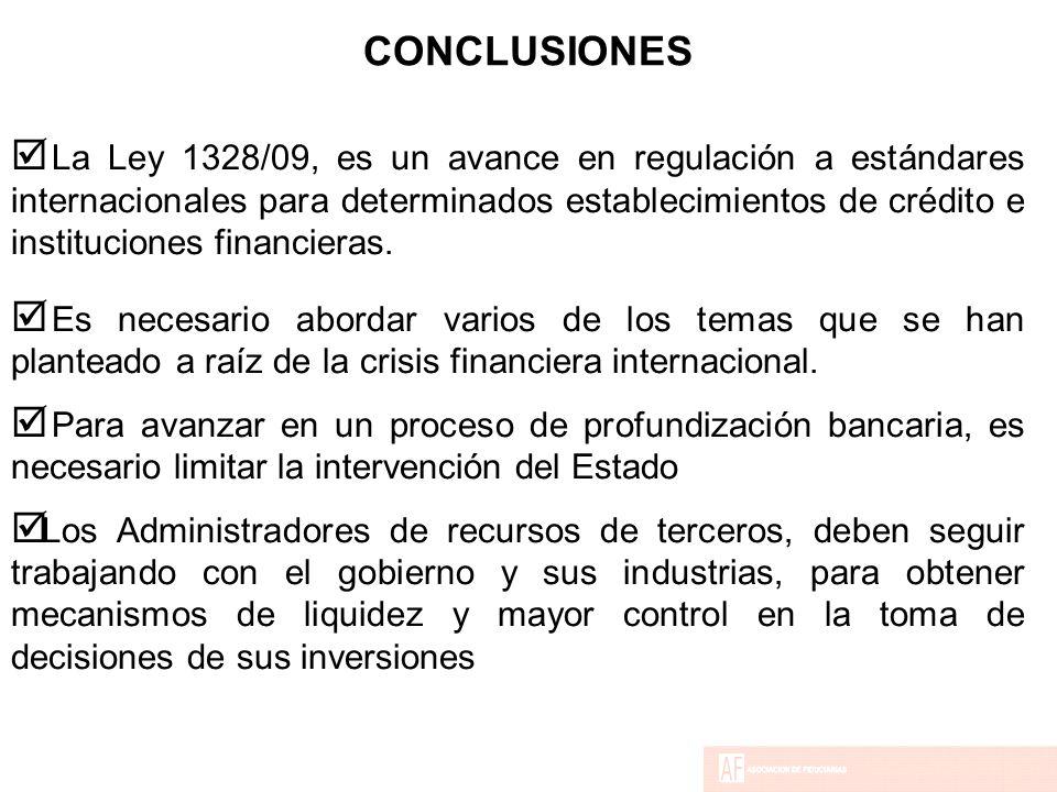 CONCLUSIONES  La Ley 1328/09, es un avance en regulación a estándares internacionales para determinados establecimientos de crédito e instituciones financieras.
