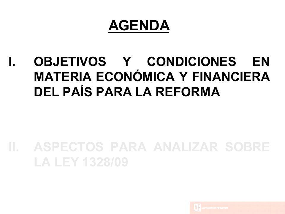 AGENDA I.OBJETIVOS Y CONDICIONES EN MATERIA ECONÓMICA Y FINANCIERA DEL PAÍS PARA LA REFORMA II.ASPECTOS PARA ANALIZAR SOBRE LA LEY 1328/09