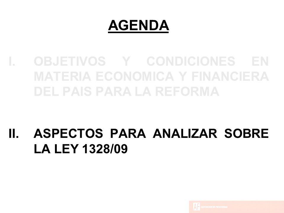 AGENDA I.OBJETIVOS Y CONDICIONES EN MATERIA ECONOMICA Y FINANCIERA DEL PAIS PARA LA REFORMA II.ASPECTOS PARA ANALIZAR SOBRE LA LEY 1328/09