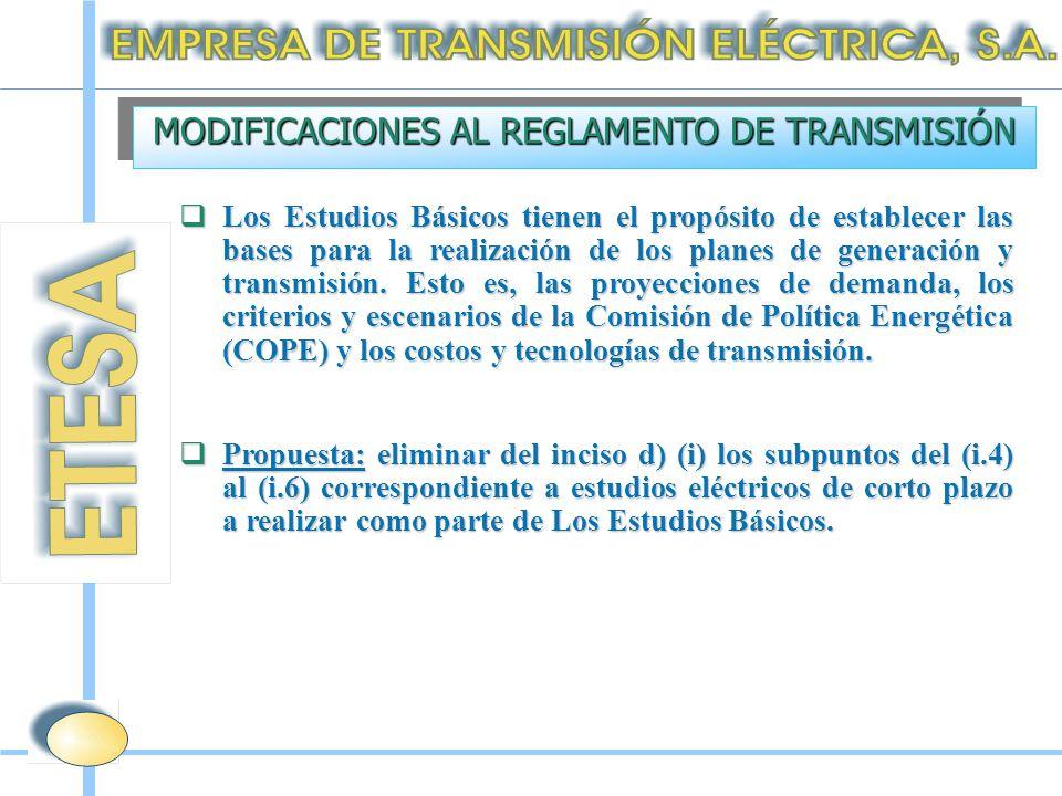  Los Estudios Básicos tienen el propósito de establecer las bases para la realización de los planes de generación y transmisión.