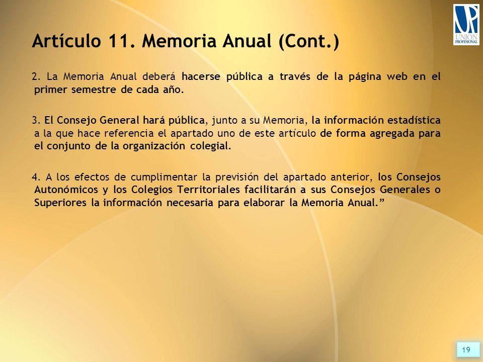 Artículo 11. Memoria Anual (Cont.) 2.