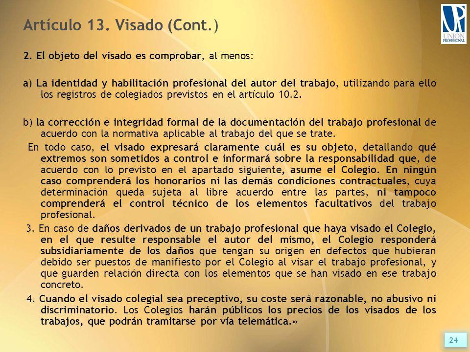Artículo 13. Visado (Cont.) 2.