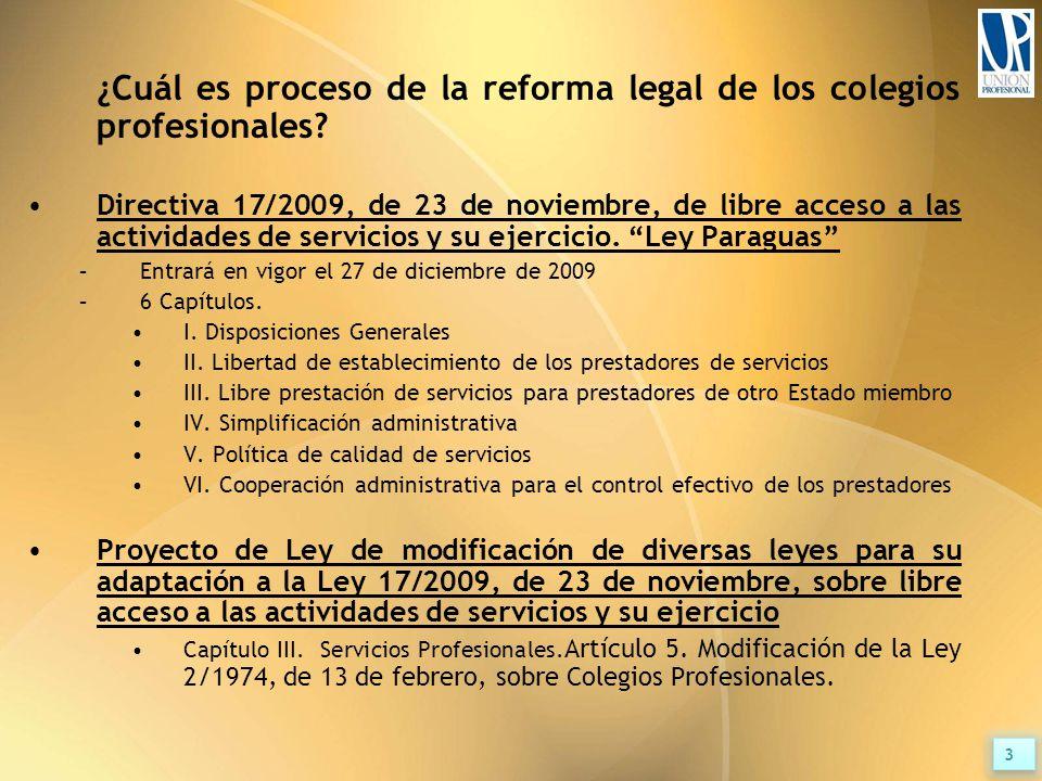 ¿Cuál es proceso de la reforma legal de los colegios profesionales.