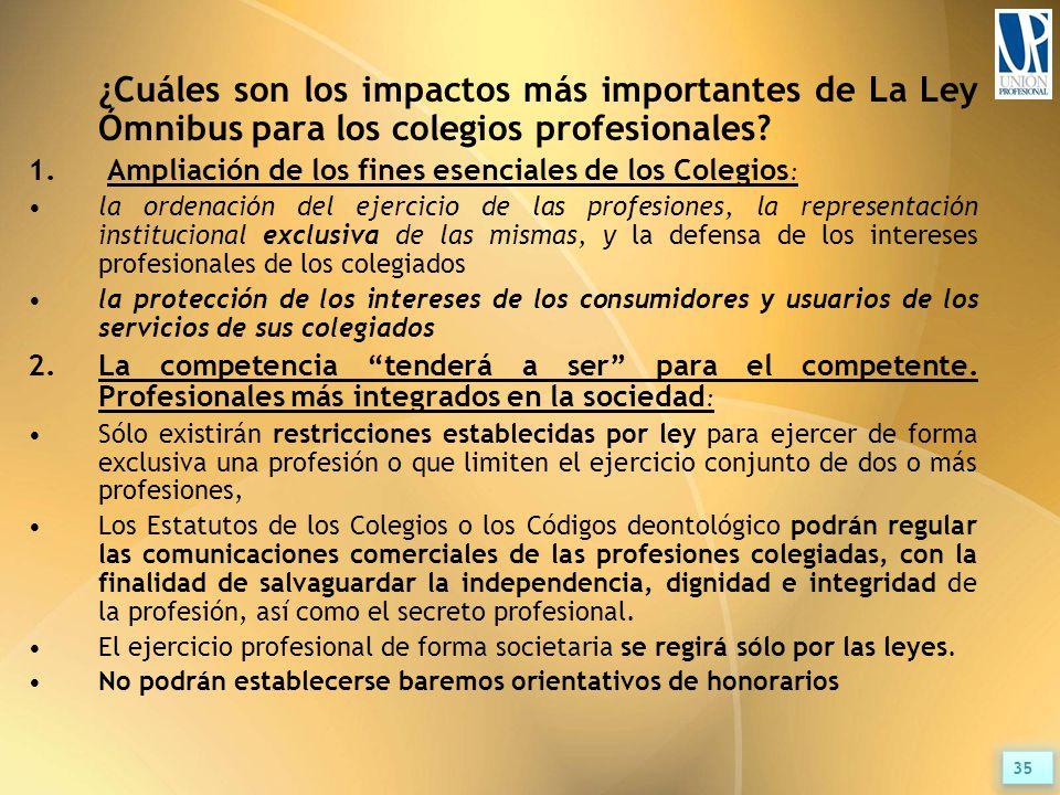 ¿Cuáles son los impactos más importantes de La Ley Ómnibus para los colegios profesionales.