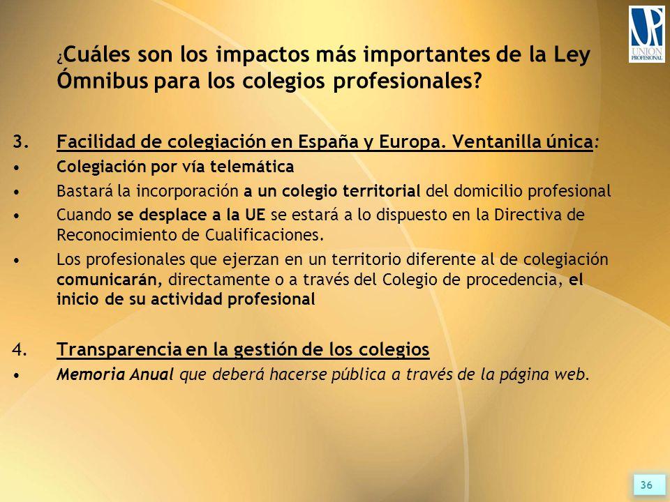 ¿ Cuáles son los impactos más importantes de la Ley Ómnibus para los colegios profesionales.
