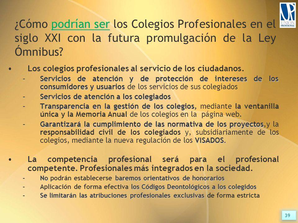 podrían ser ¿Cómo podrían ser los Colegios Profesionales en el siglo XXI con la futura promulgación de la Ley Ómnibus.