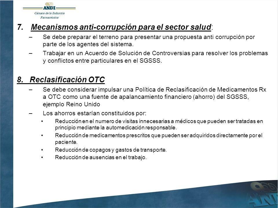 7.Mecanismos anti-corrupción para el sector salud: –Se debe preparar el terreno para presentar una propuesta anti corrupción por parte de los agentes del sistema.