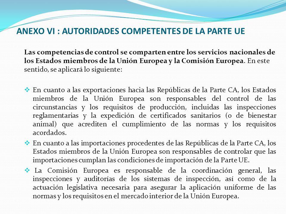 ANEXO VI : AUTORIDADES COMPETENTES DE LA PARTE UE Las competencias de control se comparten entre los servicios nacionales de los Estados miembros de la Unión Europea y la Comisión Europea.