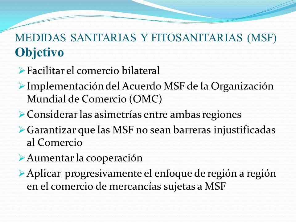 MEDIDAS SANITARIAS Y FITOSANITARIAS (MSF) Objetivo  Facilitar el comercio bilateral  Implementación del Acuerdo MSF de la Organización Mundial de Comercio (OMC)  Considerar las asimetrías entre ambas regiones  Garantizar que las MSF no sean barreras injustificadas al Comercio  Aumentar la cooperación  Aplicar progresivamente el enfoque de región a región en el comercio de mercancías sujetas a MSF