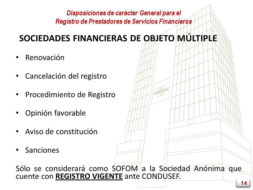 14 Disposiciones de carácter General para el Registro de Prestadores de Servicios Financieros