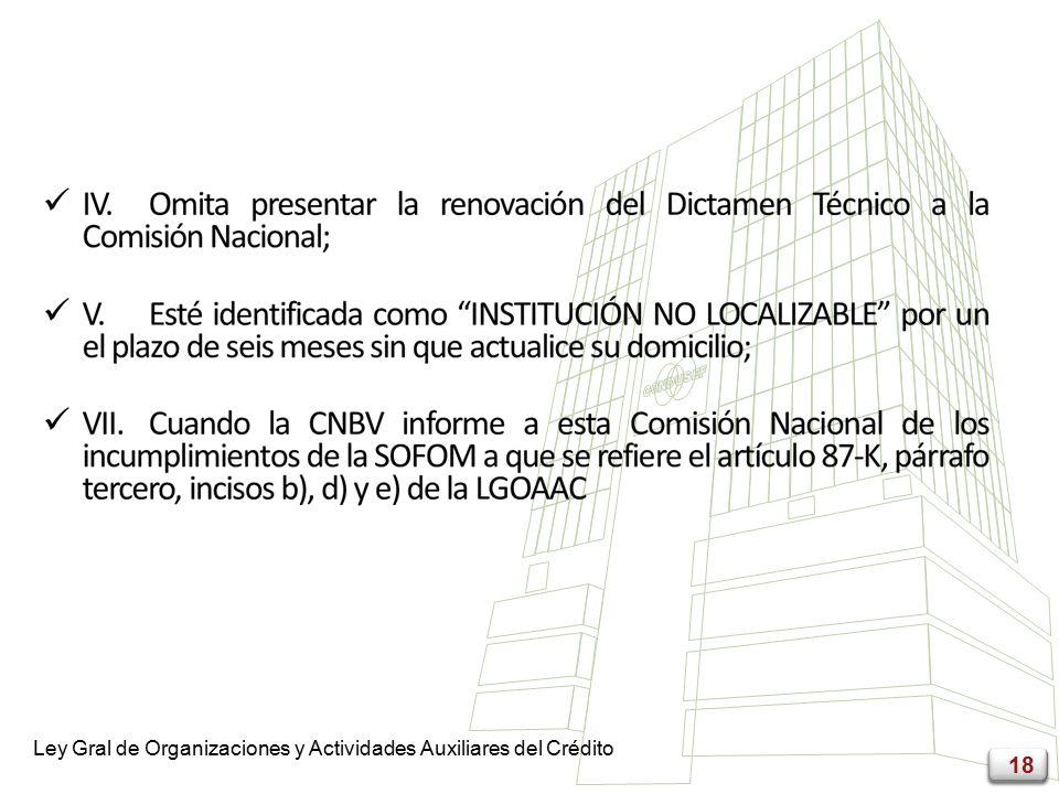 18 Ley Gral de Organizaciones y Actividades Auxiliares del Crédito