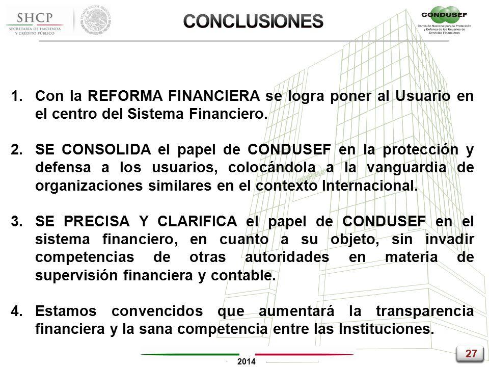27 2014 1.Con la REFORMA FINANCIERA se logra poner al Usuario en el centro del Sistema Financiero.