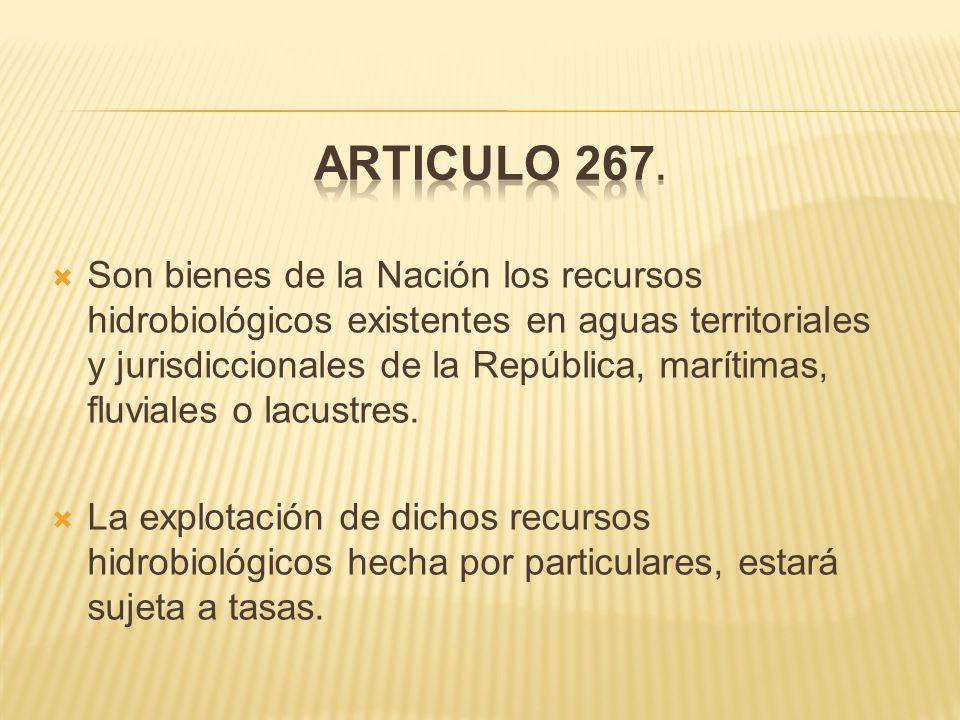  Son bienes de la Nación los recursos hidrobiológicos existentes en aguas territoriales y jurisdiccionales de la República, marítimas, fluviales o lacustres.