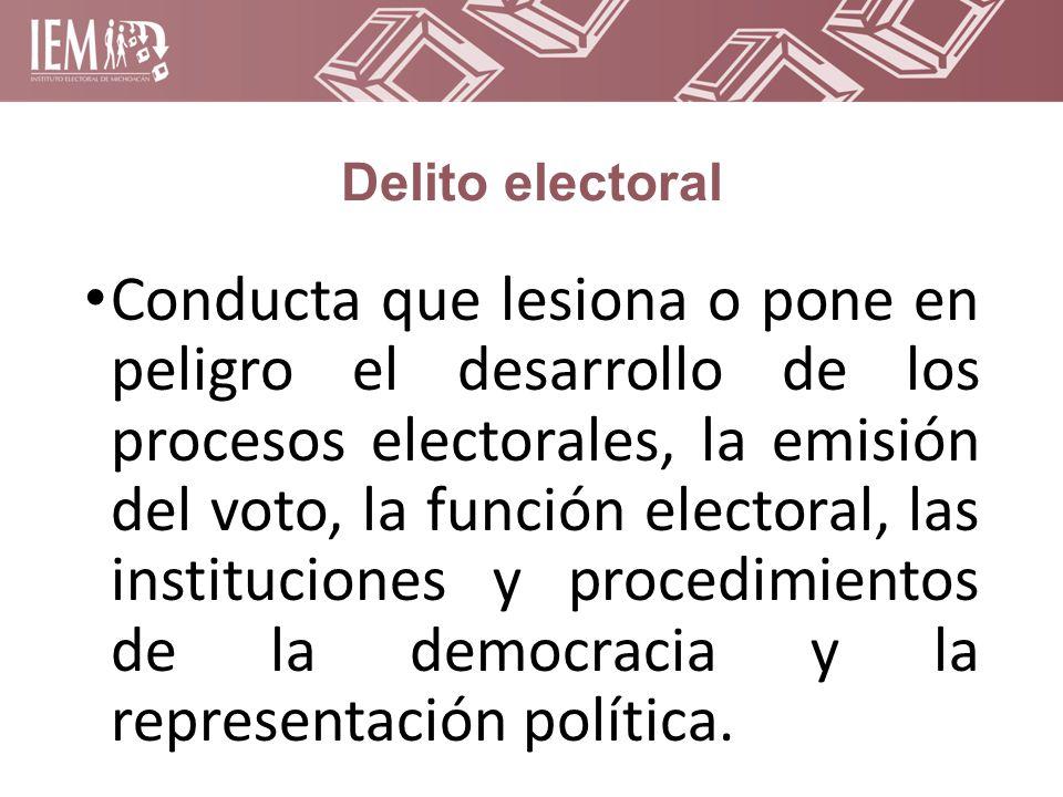 Delito electoral Conducta que lesiona o pone en peligro el desarrollo de los procesos electorales, la emisión del voto, la función electoral, las instituciones y procedimientos de la democracia y la representación política.