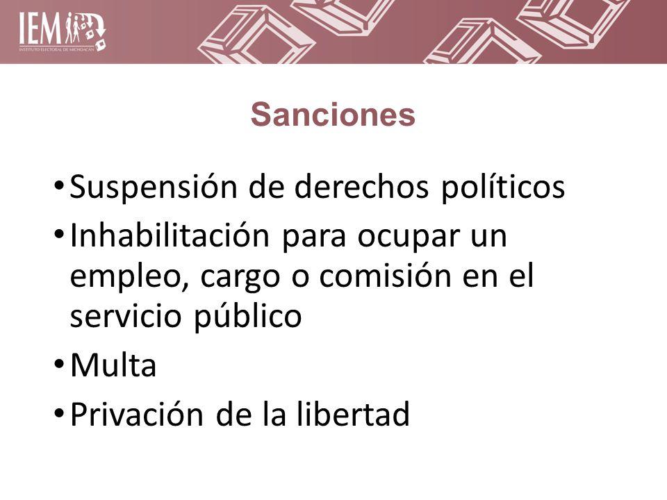 Sanciones Suspensión de derechos políticos Inhabilitación para ocupar un empleo, cargo o comisión en el servicio público Multa Privación de la libertad