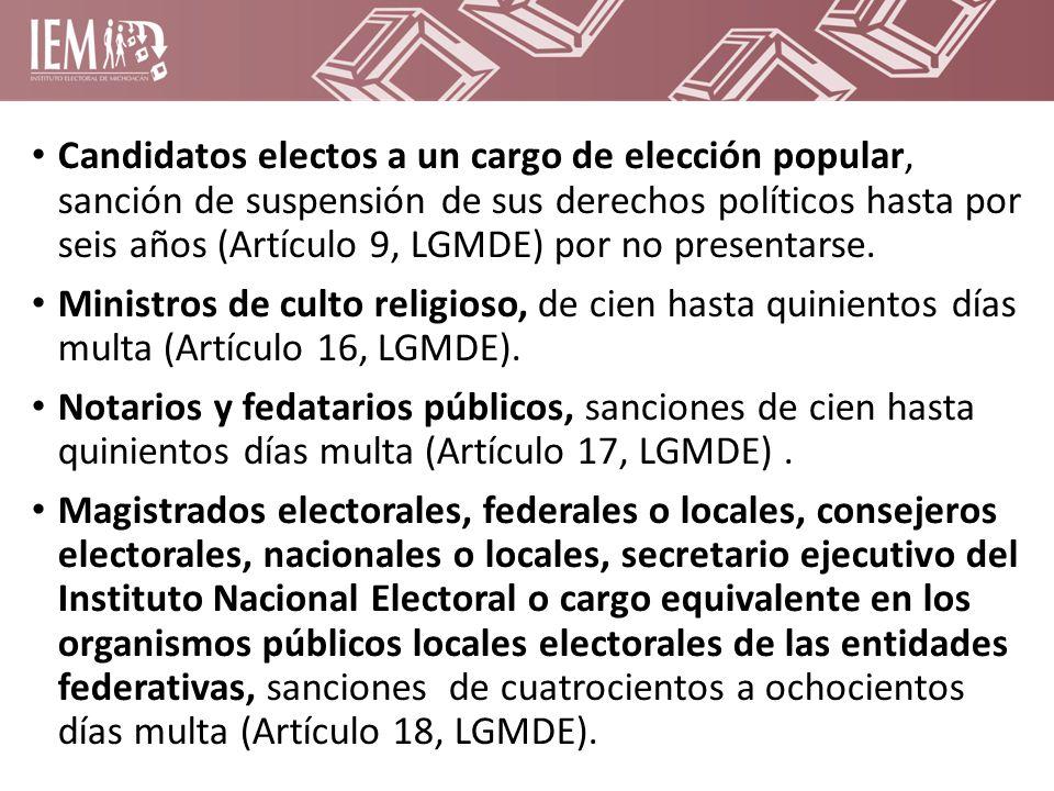 Candidatos electos a un cargo de elección popular, sanción de suspensión de sus derechos políticos hasta por seis años (Artículo 9, LGMDE) por no presentarse.