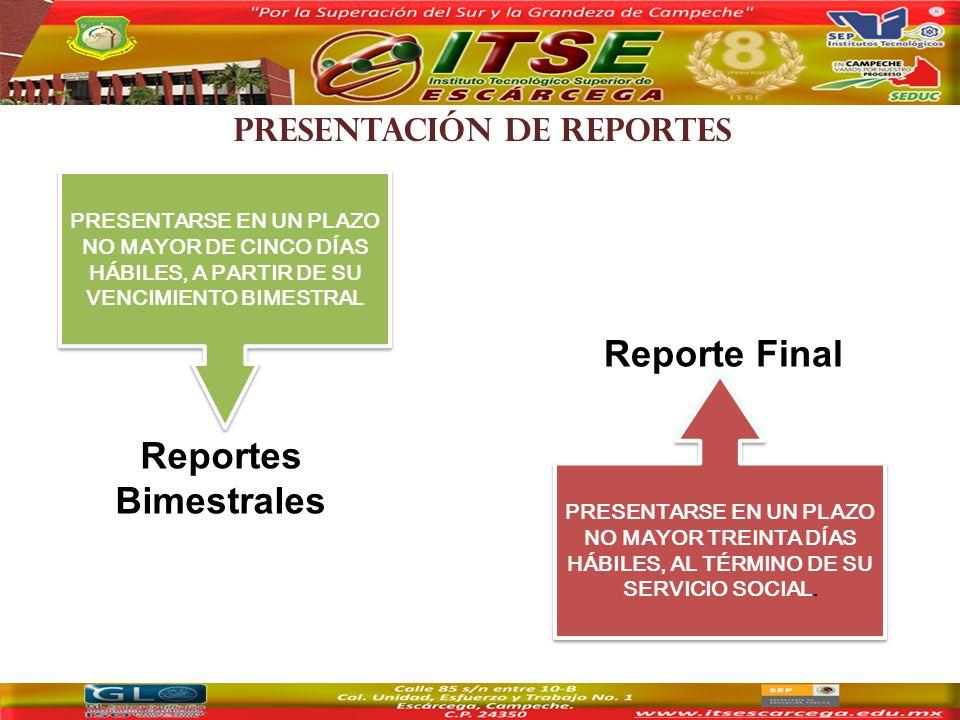 PRESENTACIÓN DE REPORTES Reportes Bimestrales PRESENTARSE EN UN PLAZO NO MAYOR DE CINCO DÍAS HÁBILES, A PARTIR DE SU VENCIMIENTO BIMESTRAL PRESENTARSE EN UN PLAZO NO MAYOR TREINTA DÍAS HÁBILES, AL TÉRMINO DE SU SERVICIO SOCIAL.