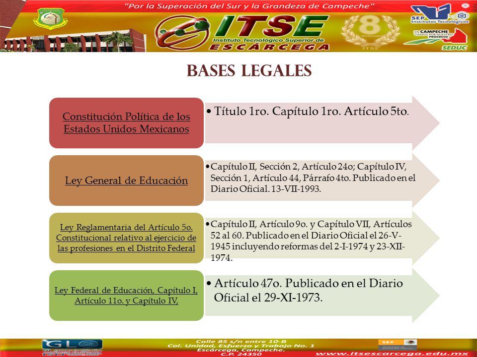 BASES LEGALES Título 1ro. Capítulo 1ro. Artículo 5to.