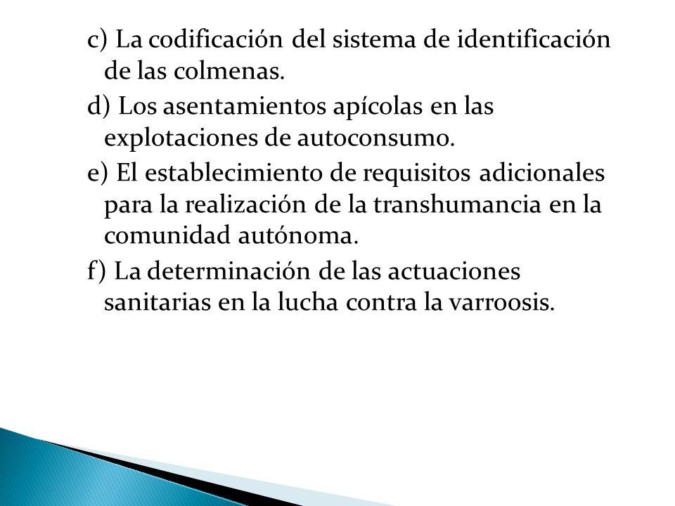 c) La codificación del sistema de identificación de las colmenas.