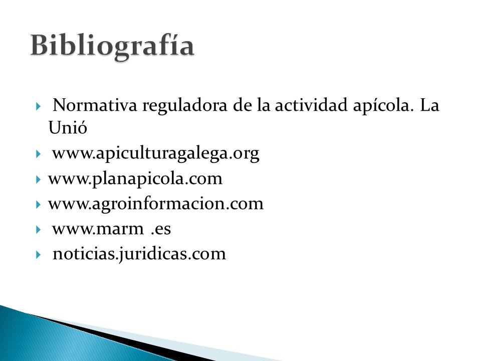  Normativa reguladora de la actividad apícola.