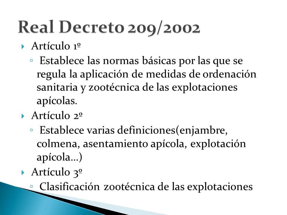  Artículo 1º ◦ Establece las normas básicas por las que se regula la aplicación de medidas de ordenación sanitaria y zootécnica de las explotaciones apícolas.