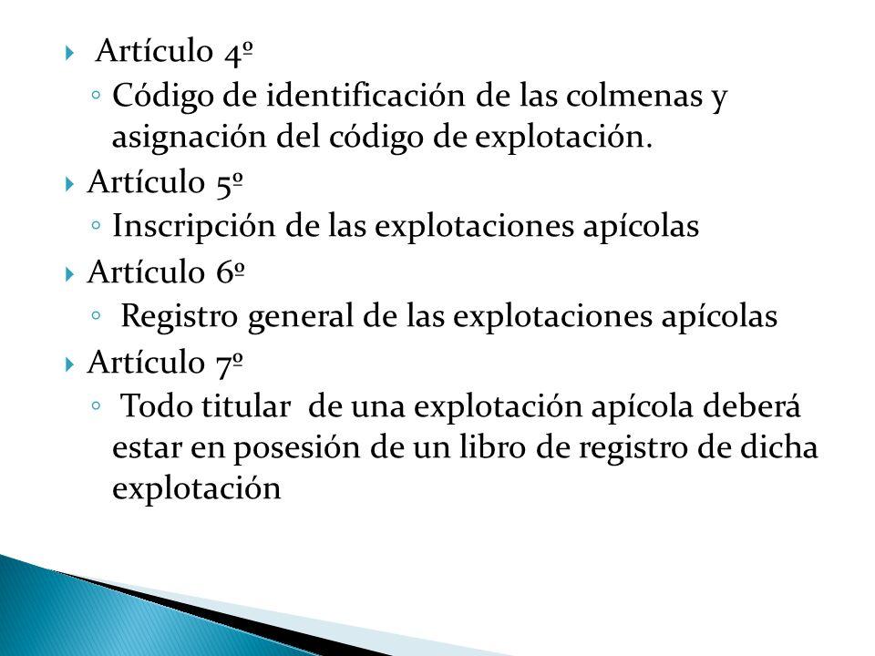  Artículo 4º ◦ Código de identificación de las colmenas y asignación del código de explotación.