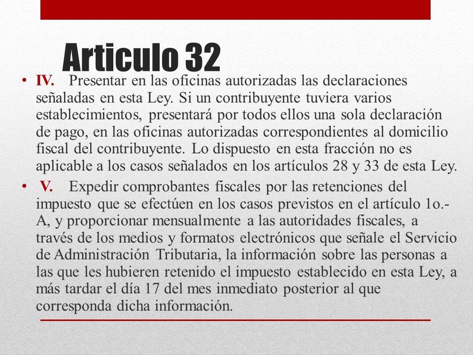 Articulo 32 IV. Presentar en las oficinas autorizadas las declaraciones señaladas en esta Ley.