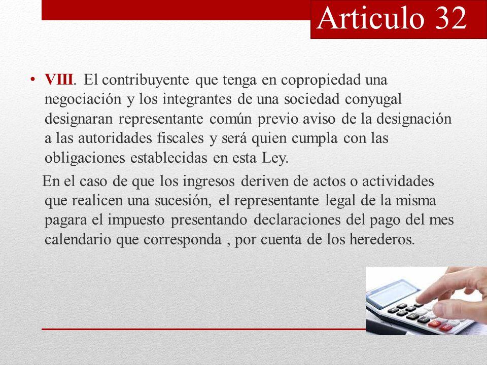 Articulo 32 VIII.