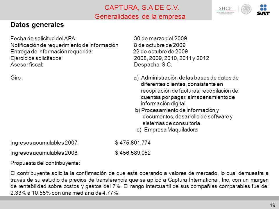 Datos generales Fecha de solicitud del APA: 30 de marzo del 2009 Notificación de requerimiento de información 8 de octubre de 2009 Entrega de información requerida: 22 de octubre de 2009 Ejercicios solicitados: 2008, 2009, 2010, 2011 y 2012 Asesor fiscal: Despacho, S.C.