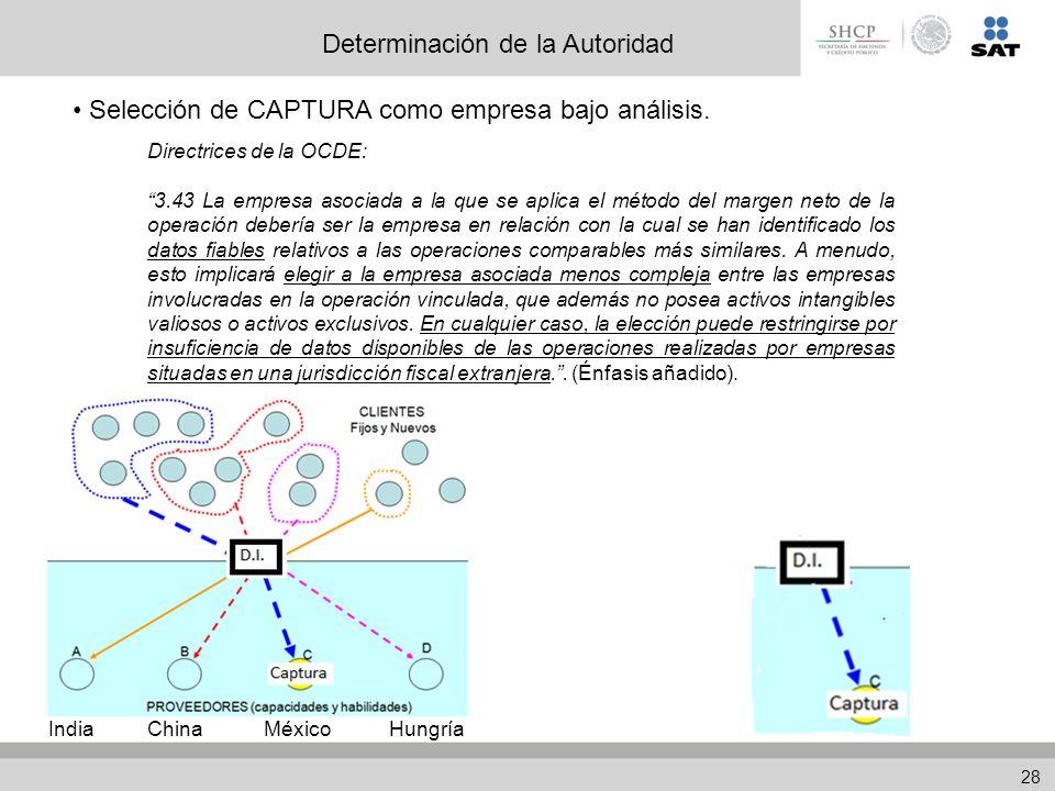 Determinación de la Autoridad Selección de CAPTURA como empresa bajo análisis.