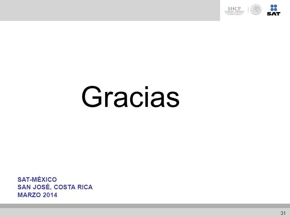 Gracias SAT-MÉXICO SAN JOSÉ, COSTA RICA MARZO 2014 31