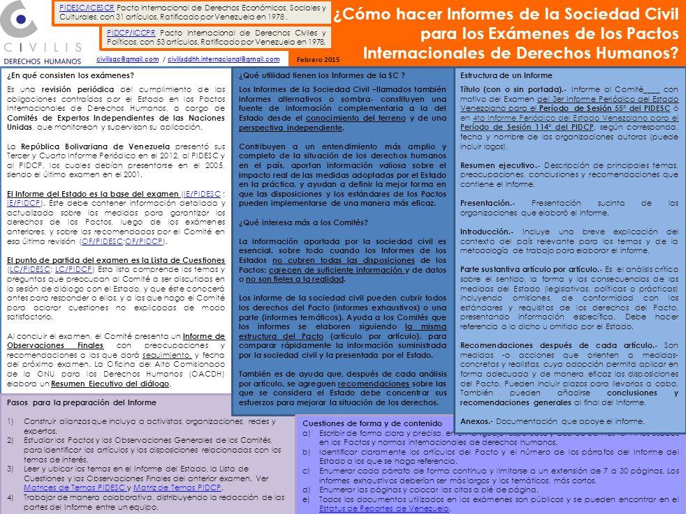 ¿Cómo hacer Informes de la Sociedad Civil para los Exámenes de los Pactos Internacionales de Derechos Humanos.
