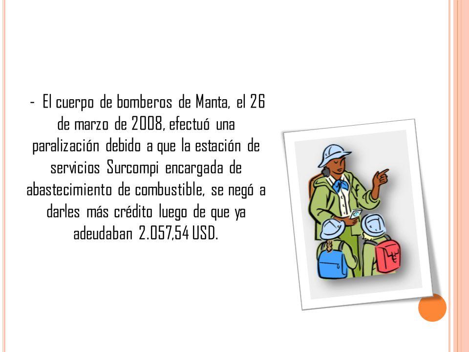 - El cuerpo de bomberos de Manta, el 26 de marzo de 2008, efectuó una paralización debido a que la estación de servicios Surcompi encargada de abastecimiento de combustible, se negó a darles más crédito luego de que ya adeudaban 2.057,54 USD.