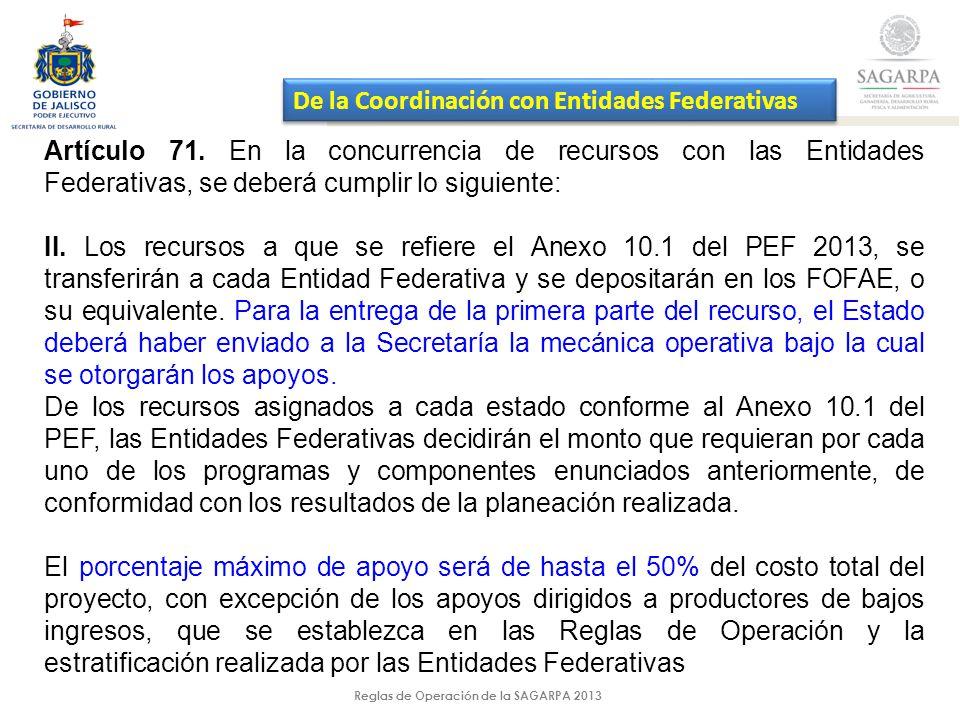 Reglas de Operación de la SAGARPA 2013 Artículo 71.