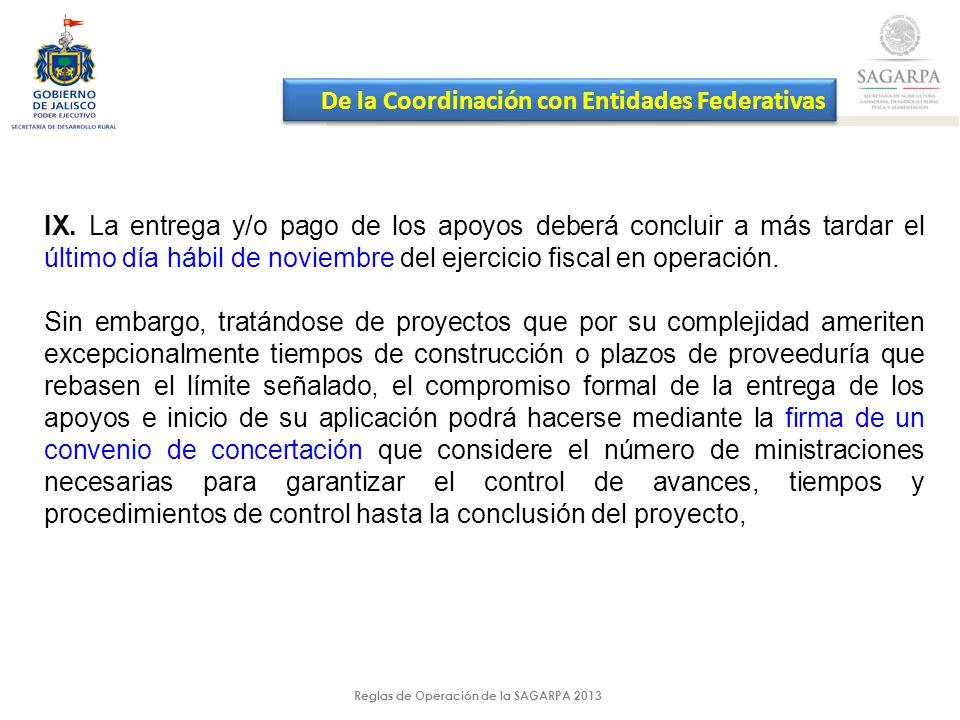 Reglas de Operación de la SAGARPA 2013 IX.