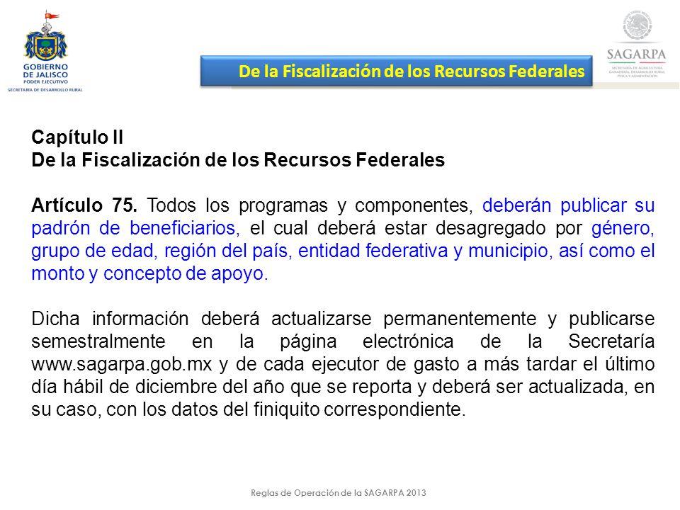 Reglas de Operación de la SAGARPA 2013 Capítulo II De la Fiscalización de los Recursos Federales Artículo 75.
