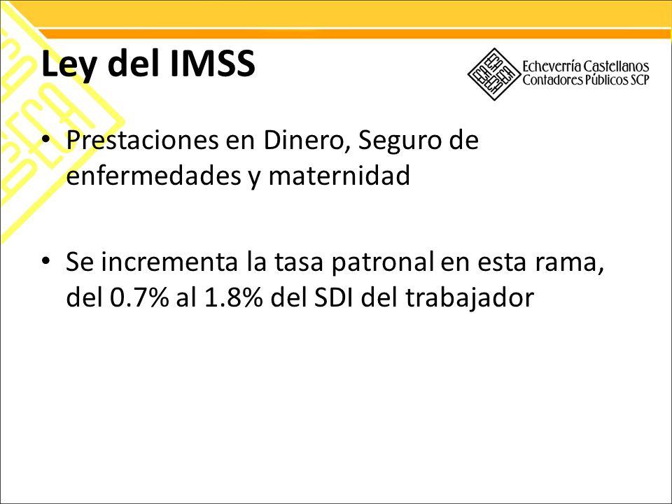 Ley del IMSS Prestaciones en Dinero, Seguro de enfermedades y maternidad Se incrementa la tasa patronal en esta rama, del 0.7% al 1.8% del SDI del trabajador