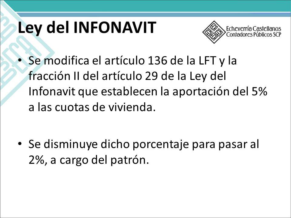 Ley del INFONAVIT Se modifica el artículo 136 de la LFT y la fracción II del artículo 29 de la Ley del Infonavit que establecen la aportación del 5% a las cuotas de vivienda.