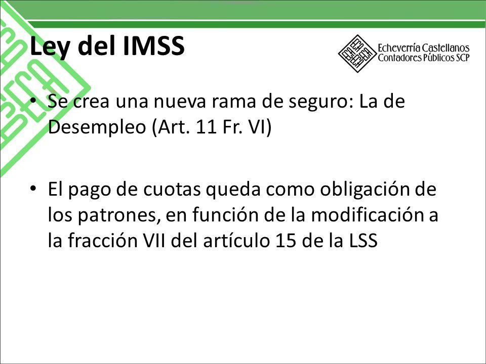 Ley del IMSS Se crea una nueva rama de seguro: La de Desempleo (Art.