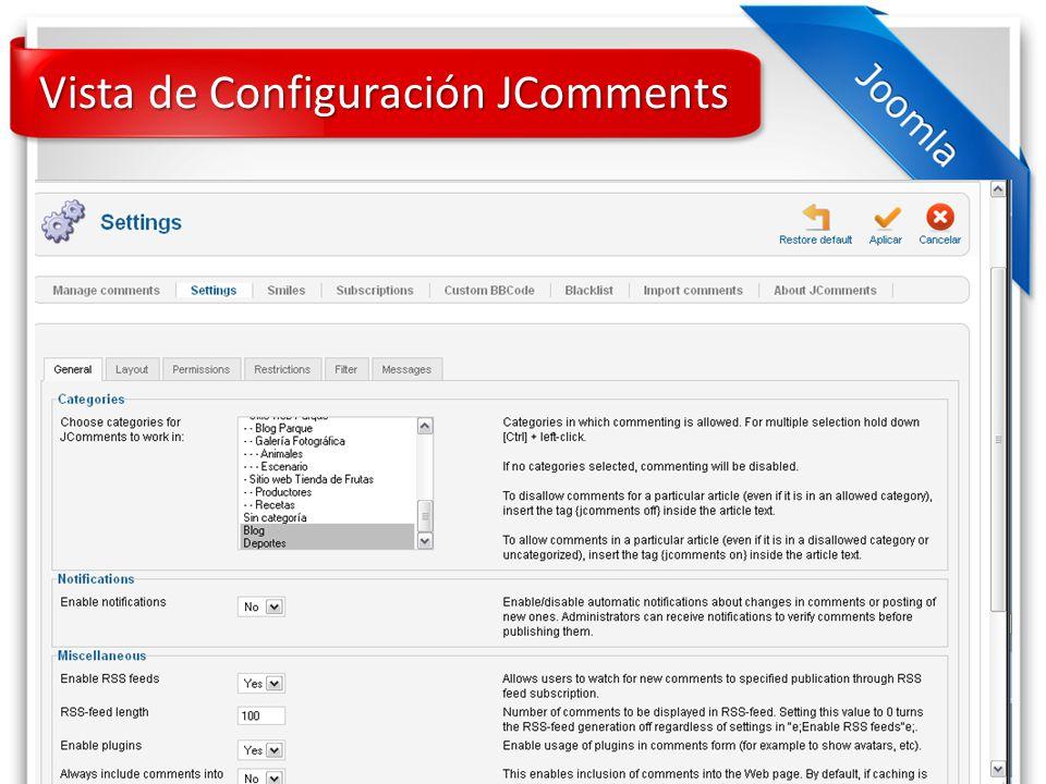 Vista de Configuración JComments