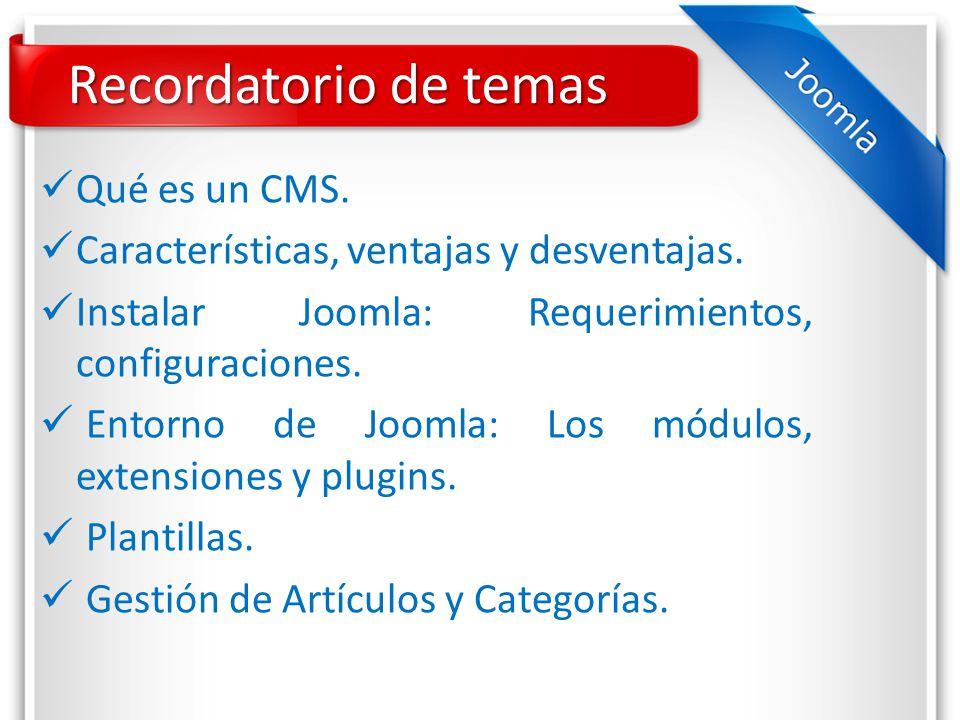 Recordatorio de temas Qué es un CMS. Características, ventajas y desventajas.