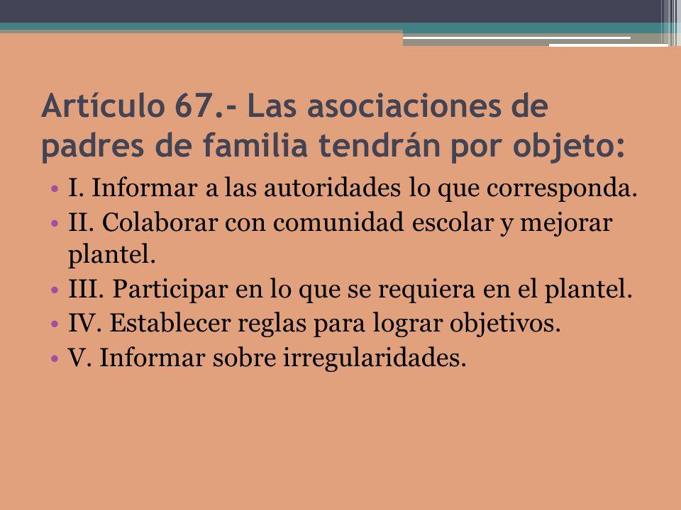 Artículo 67.- Las asociaciones de padres de familia tendrán por objeto: I.